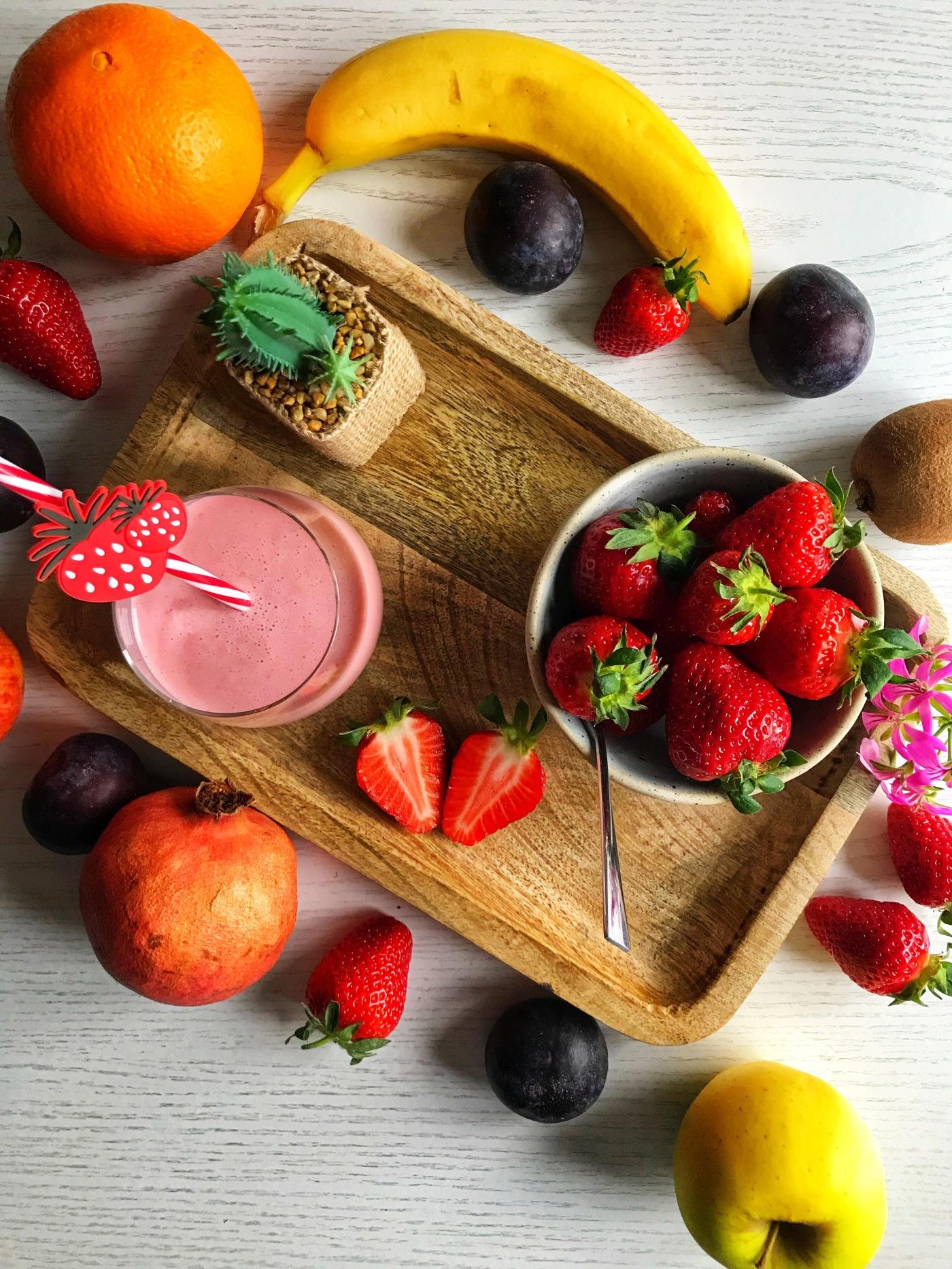veganer erdbeer bananen smoothie
